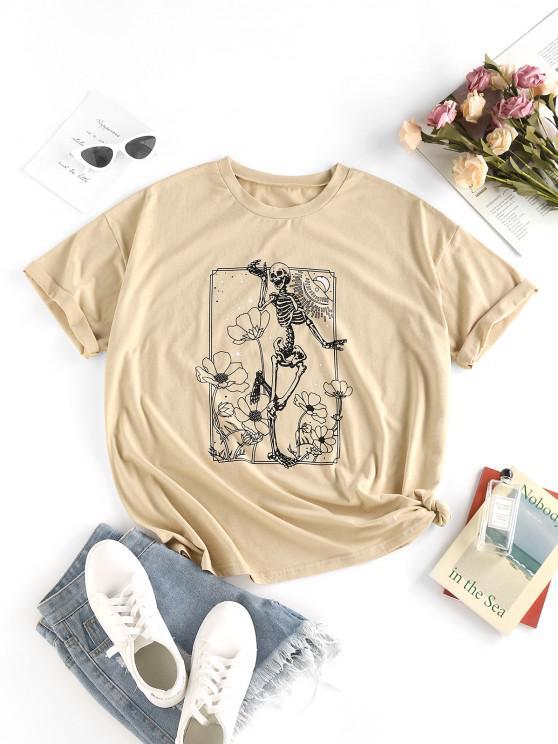 ZAFUL T-shirt Fleur Squelette à Goutte Epaule - café lumière S