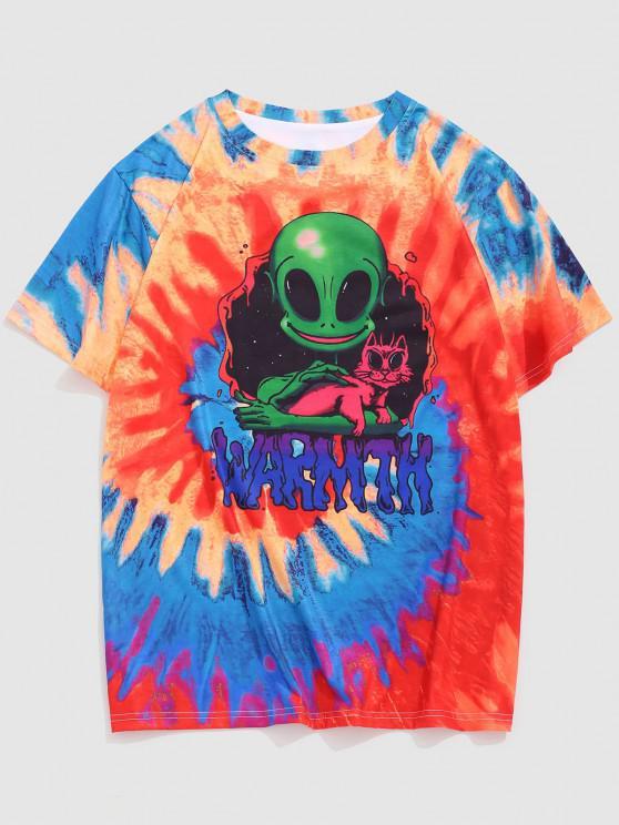 Tie Dye Alien Cat Print T-shirt - برتقالية زاهية XL