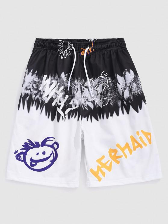 outfit Cartoon Letter Colorblock Shorts - WHITE M