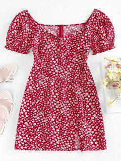 ZAFUL Mini Vestido Con Abertura De Flores Minúsculos - Rojo S