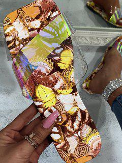 Cross Iridescent Strap Butterfly Print Sole Slides - Yellow Eu 37