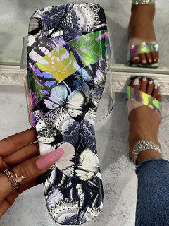 Cross Iridescent Strap Butterfly Print Sole Slides - Gray Eu 41