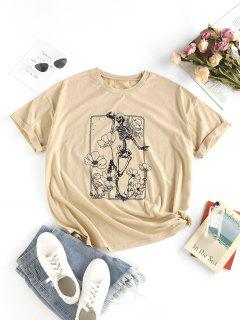 T-Shirt Di ZAFUL A Spalle Scivolate Con Stampa Scheletro Fiori - Caffè Leggero S