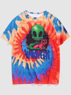 Tie Dye Alien Cat Print T-shirt - Bright Orange L