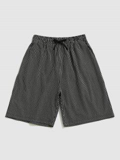 Vertical Stripe Print Drawstring Casual Shorts - Black S