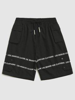 Drawstring Letter Print Cargo Shorts - Black Xl