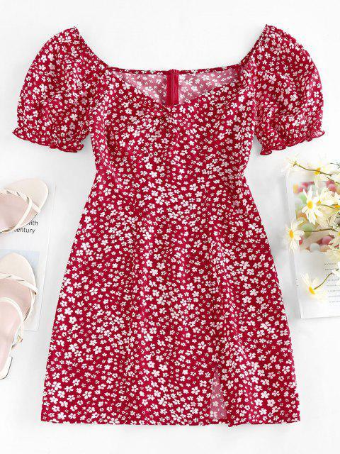 ZAFUL Winziges Kleid mit Schlitz und Blumendruck - Rot M Mobile