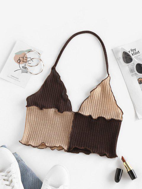 fashion ZAFUL Topstitching Colorblock Halter Knitted Top - COFFEE L Mobile