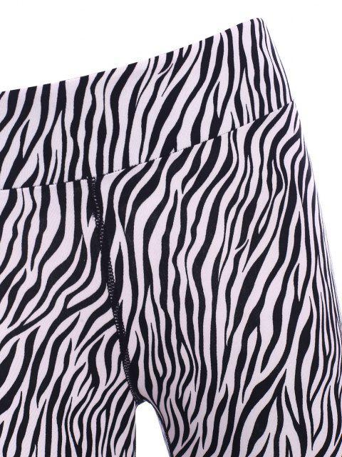 fancy Zebra Fishnet Sheer Topstitch Ninth Leggings - BLACK S Mobile