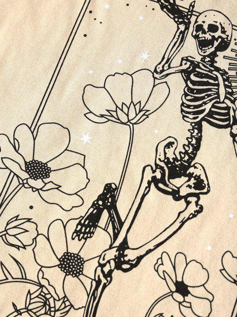 trendy ZAFUL Flower Skeleton Drop Shoulder T Shirt - LIGHT COFFEE S Mobile