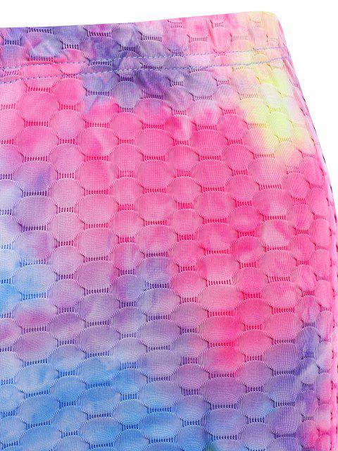 ladies Tie Dye High Rise Textured Short Leggings - MULTI S Mobile