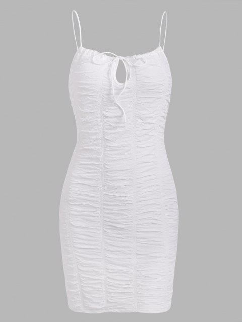 Runzelte Krawatte Kragen Cami Slinky Kleid - Weiß M Mobile