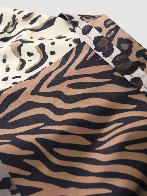 Leopard Zebra Patchwork Kurzarm Hemd - Leopard XL Mobile