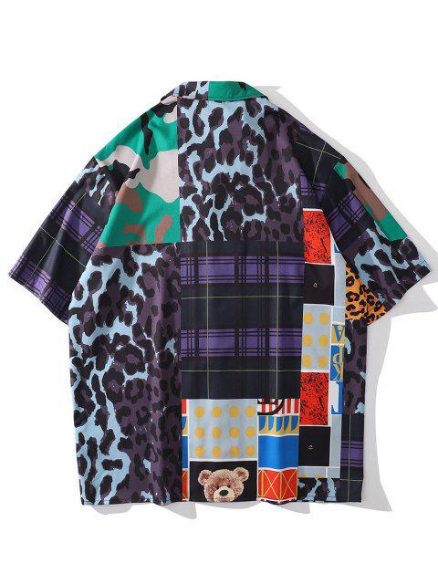 Leopard Kariertes Spielzeug Bär Camo Patchwork Hemd - Multi M Mobile