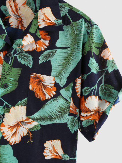 ZAFUL Urlaub Blumen Blattdruck Hemd - Tiefes Blau S Mobile