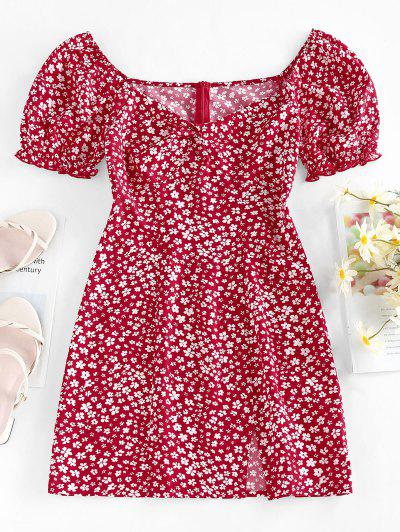 ZAFUL Tiny Flower Print Twist Slit Mini Dress