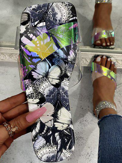 Cross Iridescent Strap Butterfly Print Sole Slides - Gray Eu 37