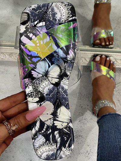 Cross Iridescent Strap Butterfly Print Sole Slides - Gray Eu 38
