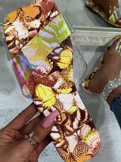Cross Iridescent Strap Butterfly Print Sole Slides - Yellow Eu 39
