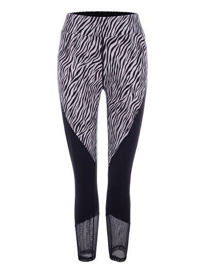 Zebra Fishnet Sheer Topstitch Ninth Leggings - Black S