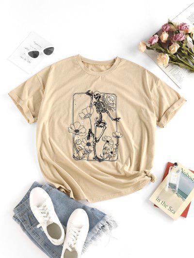 ZAFUL Flower Skeleton Drop Shoulder T Shirt - Light Coffee S