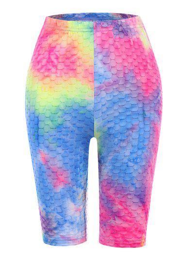 Tie Dye High Rise Textured Short Leggings - Multi M