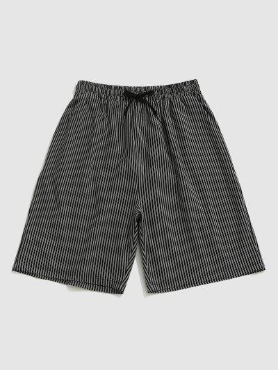 Vertical Stripe Print Drawstring Casual Shorts - Black M