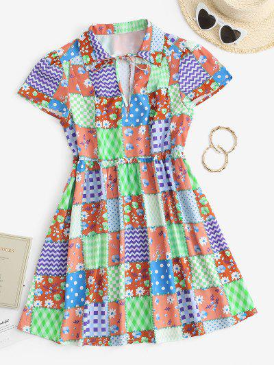 Patchwork Print Plunge Front Smock Dress - Coffee S