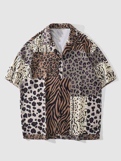 Leopard Zebra Patchwork Short Sleeve Shirt - Leopard M