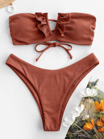 ZAFUL Bandeau Bikini Badebekleidung Mit V Förmigen Rippen Und Rüschen - Kaffee M