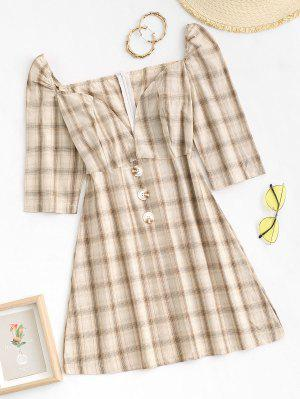 zaful Plaid Puff Sleeve Sweetheart Neck Dress
