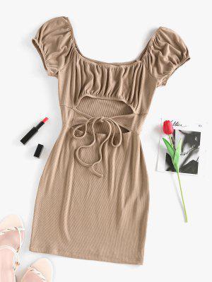 zaful ZAFUL Ribbed Cutout Puff Sleeve Ruched Dress