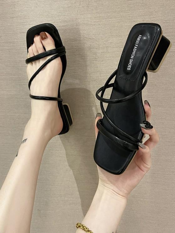 best Square Toe Strappy Chunky Heel Slip-On Sandals - BLACK EU 38