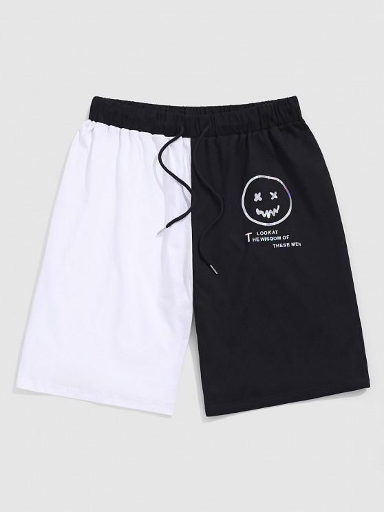 outfits ZAFUL Reflective Face Letters Print Graphic Sports Shorts - BLACK M