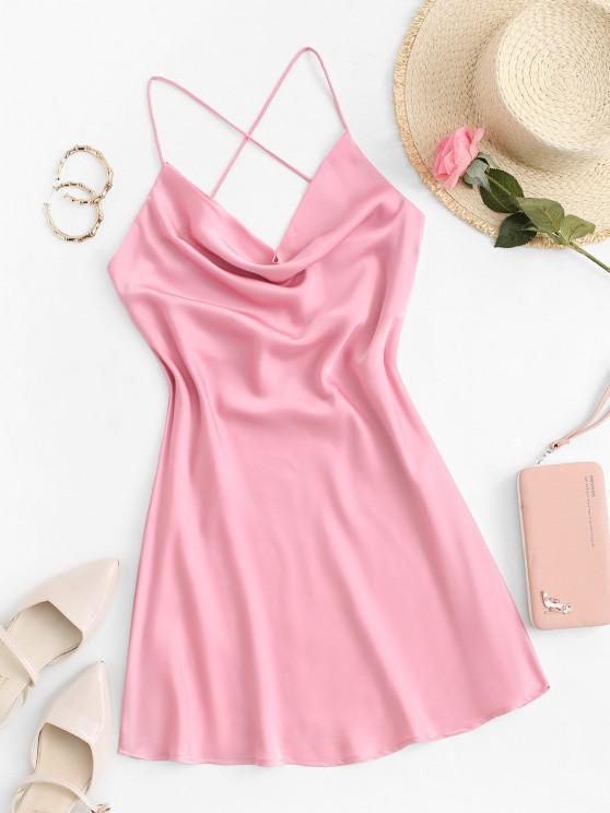 Vestido con Tirante Fino de Satén de Sedoso con Espalda Abierta - Rosa Claro M