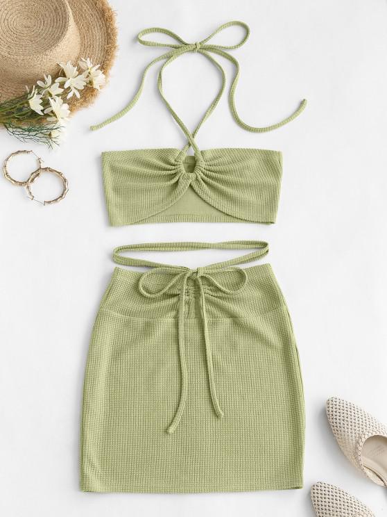 online ZAFUL Cinched Cutout Crisscross Knitted Two Piece Dress - GREEN S