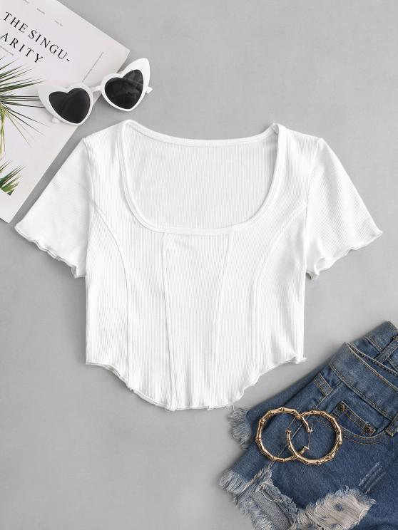 women's Square Collar Rib-knit Curved Hem Corset Top - WHITE S