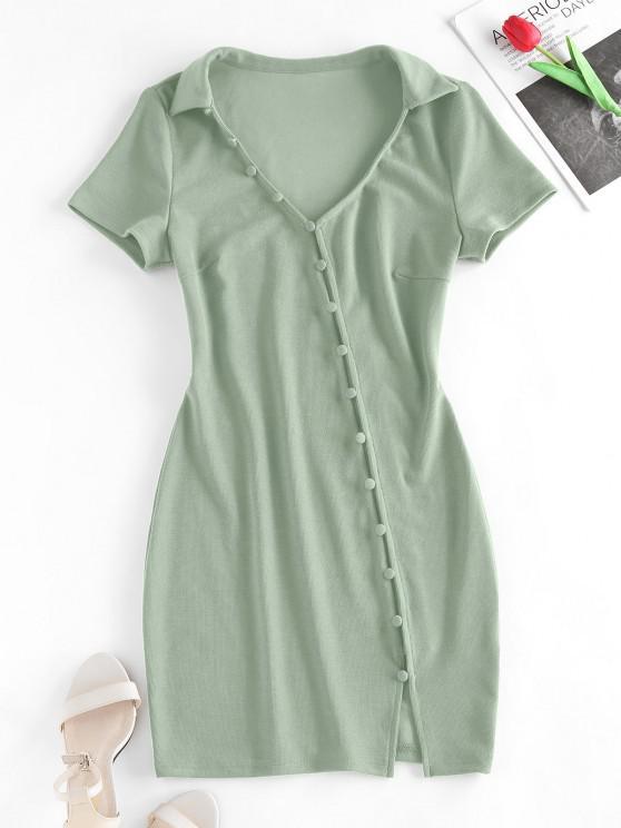 lady ZAFUL Loop Button Slit Mini Bodycon Dress - LIGHT GREEN S
