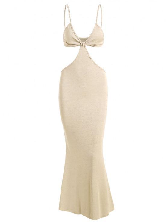 new Spaghetti Strap Cutout Knit Maxi Mermaid Dress - LIGHT YELLOW M