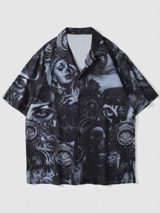 trendy Figure Flower Vintage Print Shirt - BLACK M