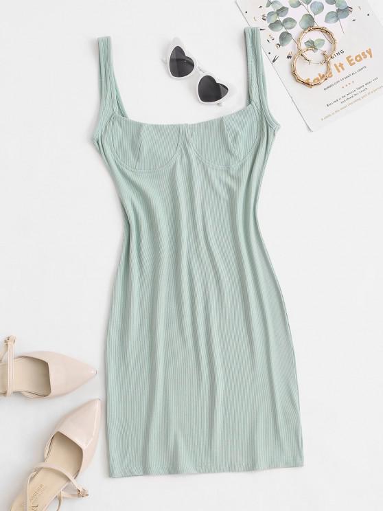 best Rib-knit Low Back Slinky Bustier Tank Dress - GREEN M