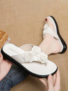 Flower Decor Thick Sole Flat Thong Slippers - White Eu 40