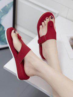 Thick Sole Buckle Belt T-Strap Slippers - Red Eu 37