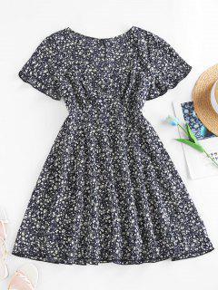ZAFUL Ditsy Print Flutter Sleeve Plunging Mini Dress - Black M