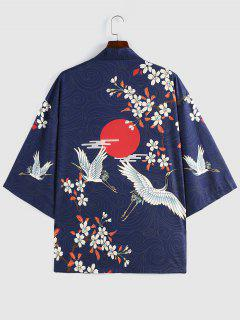 ZAFUL Blumen Rote Sonnen Fliegende Kran Kimono - Tiefes Blau M
