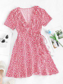 ZAFUL Robe Enveloppée Fleurie Nouée à Volants - Rouge Xl