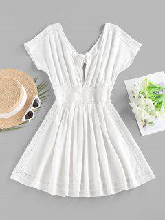 ZAFUL Plunge Back Tie Smocked Dress - White S