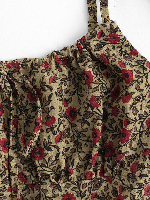 Blumen Geraffte Detail Kittel Sommerkleid - Kaffee M Mobile
