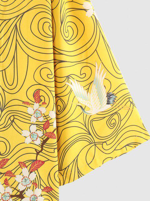 ZAFUL Blumen Rote Sonnen Fliegende Kran Kimono - Gelb S Mobile
