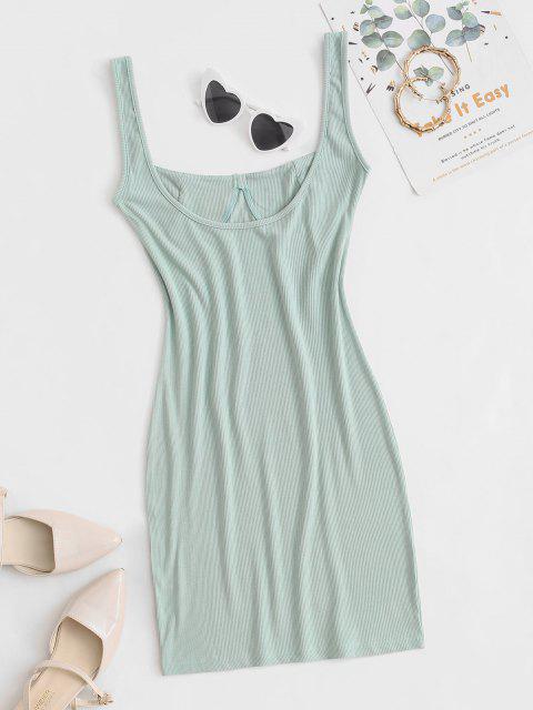 Ripp Kleid mit Tiefem Rückseite und Passen Sie Ihre Verschiedenen Kleider - Grün S Mobile